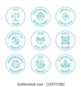 Vector set of linear circle design elements, logo templates, icons and badges for natural organic cosmetics with clean ingredients - fair trade, handcrafted, family owned, eco friendly, biodegradable