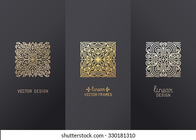Vector set of linear design elements, logo design templates and mono line badges for packaging - abstract concepts for luxury products and services - emblems in golden foil style on  black background