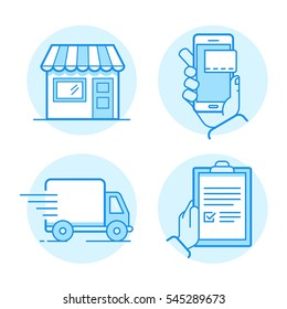 Vector set of linear flat icons and infographics design elements - internet shopping process - shop building with awning, online mobile payment, delivery truck and receiving order