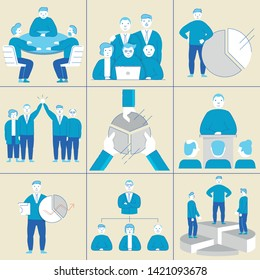 Vector set of linear flat symbols related to team work, relationship and human resource management - filled outline