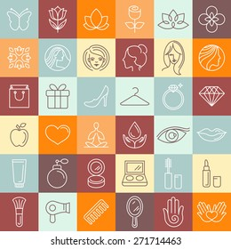 Vector set of linear icons - beauty and cosmetics signs and symbols - design concepts for hairdressers and wellness centers