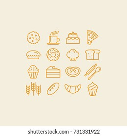 Vector set of linear icons and illustrations related to bakery - collection of outline signs with sweet bread, cakes, pizza, croissant