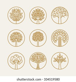 Vector set of linear icons and logo design elements in trendy mono line style - growth concepts, business emblems and signs - tree and bush labels