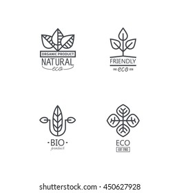 Vector set of linear icons and logo design elements in fashionable style mono lines on ecological subjects
