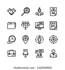 Vector set of linear icons related to team work, career progress and business process.
