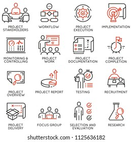 Vector set of linear icons related to project management. Mono line pictograms and infographics design elements - part 3