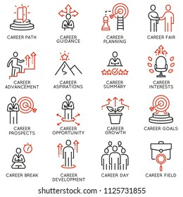 Vector set of linear icons related to career development and advancement. Mono line pictograms and infographics design elements
