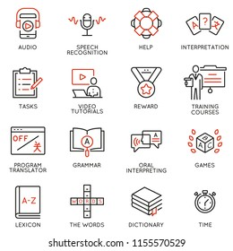 Vector set of linear icons related to language translation, studying and interpretation, translation service. Mono line pictograms and infographics design elements