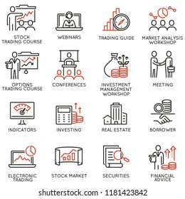 Vector set of linear icons related to trade service, investment strategy and management. Mono line pictograms and infographics design elements - part 4