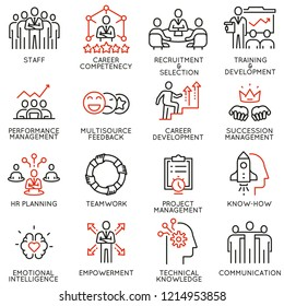 Vector set of linear icons related to human resource management, career competency and leadership. Mono line pictograms and infographics design elements - part 4