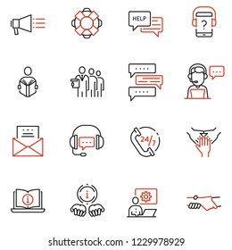 Vector set of linear icons related to support, help and online assistant. Mono line pictograms and infographics design elements