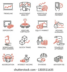 Vector set of linear icons related to investment, financial advice and business management. Mono line pictograms and infographics design elements - part 3