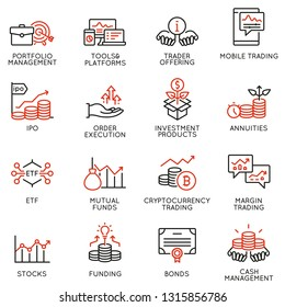 Vector set of linear icons related to investment, financial advice and business management. Mono line pictograms and infographics design elements - part 4