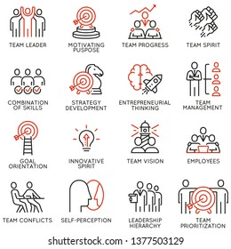 Vector set of linear icons related to team work, team leader and human resource management. Mono line pictograms and infographics design elements