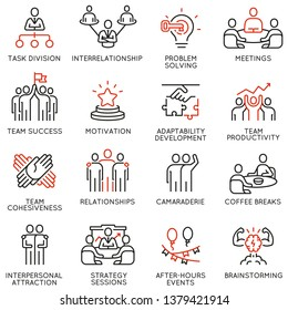 Vector set of linear icons related to team work, team leader and human resource management. Mono line pictograms and infographics design elements - part 2