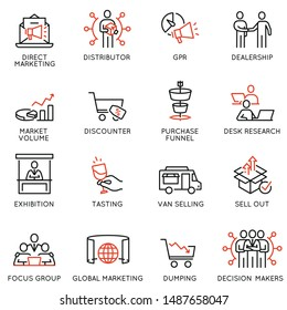 Vector set of linear icons related to business management process, advertising promotion and marketing. Mono line pictograms and infographics design elements - part 3