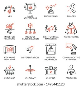 Vector set of linear icons related to business management process, advertising promotion and marketing. Mono line pictograms and infographics design elements.