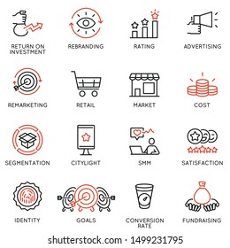 Vector set of linear icons related to business management process, advertising promotion and marketing. Mono line pictograms and infographics design elements