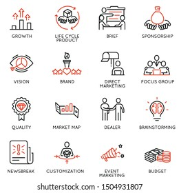 Vektorset von linearen Symbolen im Zusammenhang mit Business-Management-Prozess, Werbung und Marketing. Mono-Line-Piktogramme und Infografik-Design-Elemente - 9