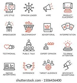 Vektorset von linearen Symbolen im Zusammenhang mit Business-Management-Prozess, Werbung und Marketing. Mono-Line-Piktogramme und Infografik-Design-Elemente - 11
