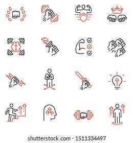 Vector set of linear icons related to leadership development, assertiveness, empowerment, skills. Mono line pictograms and infographics design elements - 1