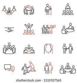 Vector set of linear icons related to engagement, discussion, persuasiveness. Mono line pictograms and infographics design elements