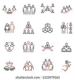 Vektorset von linearen Symbolen in Bezug auf Unternehmensstruktur, Personalmanagement und Nachfolge. Mono-Line-Piktogramme und Infografik-Design-Elemente