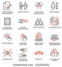 Vector set of linear icons related to engagement employee. Mono line pictograms and infographics design elements