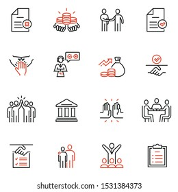Vector set of linear icons related to bargaining, letter of credit, acknowledgement and affirmation. Mono line pictograms and infographics design elements
