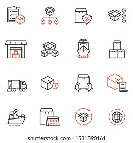 Vector set of linear icons related to order, collect, delivery and receipt of goods. Mono line pictograms and infographics design elements