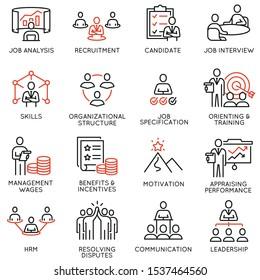 Vektorgrafik von linearen Symbolen im Zusammenhang mit Engagement Mitarbeiter, Einstellung, Organisationsstruktur, Personalmanagement. Mono-Line-Piktogramme und Infografik-Design-Elemente