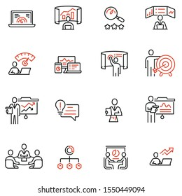Vector Set of Linear Icons Related to Strategy Management System and Balanced Scorecard. Data Analysis and Development Statistics. Mono Line Pictograms and Infographics Design Elements