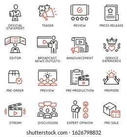 Vector set of linear icons related to announcement, pre-order, preview and discussion. Mono line pictograms and infographics design elements