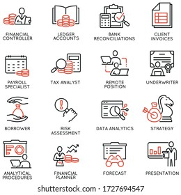 Vector Set of Linear Icons Related to Report, Current Accounting and Finance Jobs. Mono Line Pictograms and Infographics Design Elements