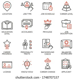 Vector Set of Linear Icons Related to Remote Work, Find a Job, Employment,  Freelance and HR. Mono Line Pictograms and Infographics Design Elements