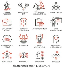 Vector Set of Linear Icons Related to Remote Work, Find a Job, Employment, Freelance and HR. Mono Line Pictograms and Infographics Design Elements - part 2