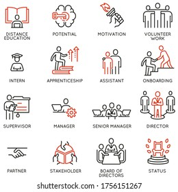 Vector Set of Linear Icons Related to career ladder, empowerment leadership development and progress. Mono Line Pictograms and Infographics Design Elements