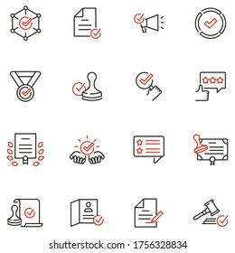 Vector Set of Linear Icons Related to Approvement, Accreditation, Quality Check and Affirmation. Mono Line Pictograms and Infographics Design Elements - part 3