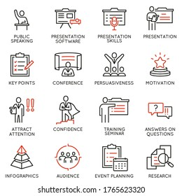 Vector set of linear icons related to career training, seminar, conference and presentation. Mono line pictograms and infographics design elements