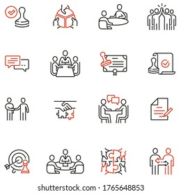 Vector Set of Linear Icons Related to Business Cooperation, Partnership, Synergy, Coherence, Negotiation and Deal. Mono Line Pictograms and Infographics Design Elements
