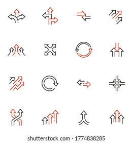 Vector Set of Linear Icons Related to arrow, direction, progress and path. Mono Line Pictograms and Infographics Design Elements