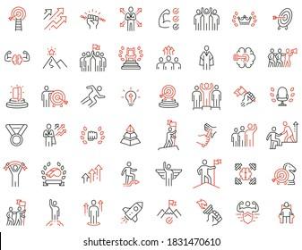 Vektorset mit linearen Symbolen in Bezug auf Humanressourcen, Führungseigenschaften, Entwicklungsstreben, Laufbahnfortschritt und Selbstverwirklichung. Symbole der Mono-Line-Kollektion und Infografik-Design-Elemente