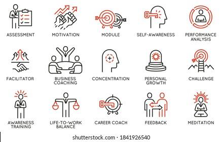 Vektorset mit linearen Symbolen für Coaching, Karriereentwicklung und Selbstverwirklichung. Mono-Line-Piktogramme und Infografik-Design-Elemente