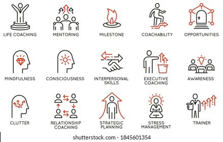 Vector Set of Linear Icons Related to Coaching, Career Development and Striving for Self-Realization. Mono Line Pictograms and Infographics Design Elements - part 2