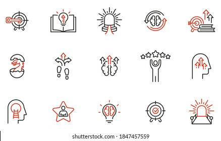 Vector Set of Linear Icons Related to Coaching, Career Development and Striving for Self-Realization. Mono Line Pictograms and Infographics Design Elements - part 3