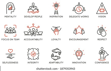 Vector Set of Linear Icons Related to Leadership Traits, Qualities for Success. Development and Teamwork. Mono Line Pictograms and Infographics Design Elements - part 1