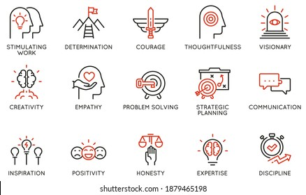 Vector Set of Linear Icons Related to Leadership Traits, Qualities for Success. Development and Teamwork. Mono Line Pictograms and Infographics Design Elements - part 2