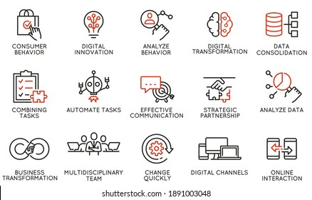 Vector Set of Linear Icons Related to Automation, Convenience of Purchasing Products, Business and Digital Transformation. Mono Line Pictograms and Infographics Design Elements