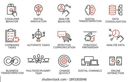 Vektorset mit linearen Symbolen für Automatisierung, Bequemlichkeit von Kaufprodukten, geschäftliche und digitale Transformation. Mono-Line-Piktogramme und Infografik-Design-Elemente