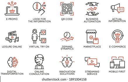Vektorset mit linearen Symbolen für die Automatisierung von Geschäftsabläufen, Bequemlichkeit von Kaufprodukten, Nachfrageänderung und digitale Transformation. Mono-Line-Piktogramme und Infografik-Design-Elemente
